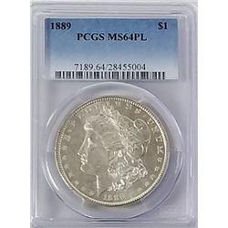 Morgan Silver Dollar 1889 MS 64 PL