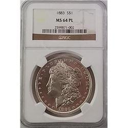 Morgan Silver Dollar 1883 MS 64 PL