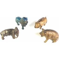 Collection of four banks in the shape of animals