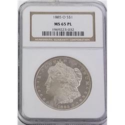 Morgan Silver Dollar 1885 O MS 65.