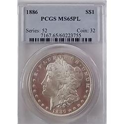 Morgan Silver Dollar 1886 MS 65 PL