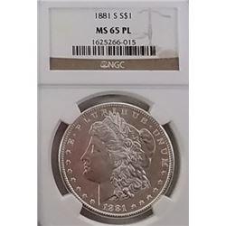 Morgan Silver Dollar 1881 S MS 65 PL