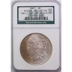 Morgan Silver Dollar 1887 brilliant uncirculated