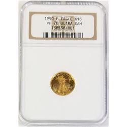 1990 P 5$ Gold Eagle PF 70 Ultra CAM