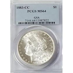 Morgan Silver Dollar 1883 CC MS 64