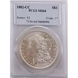 Morgan Silver Dollar 1882 CC  MS 64.