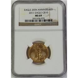 2011 Gold Eagle 10$ 25th Anniversary MS 69