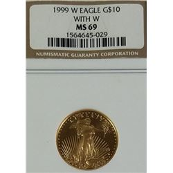 1999 W  Gold Eagle 10$ with W MS69