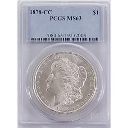 Morgan Silver Dollar 1878 CC MS 63