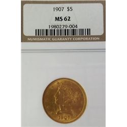 1907 Liberty Head 5$ Gold Piece MS 62 NGC