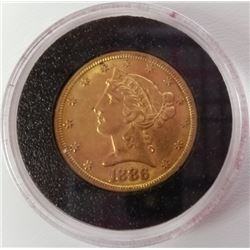 1886 S 5$ Liberty Head Gold Piece