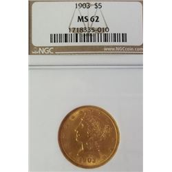 1903 5$ Liberty Head Gold Piece MS 62