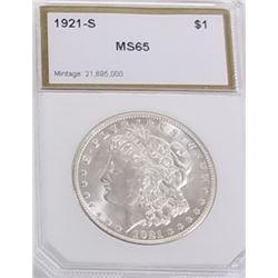 Morgan Silver Dollar 1921 S MS 65.