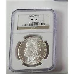 Morgan Silver Dollar 1881 CC MS 64.