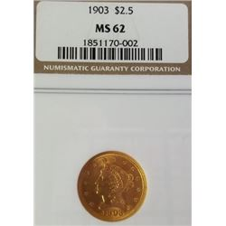 1903 2.5$ Liberty Head Gold Piece MS 62