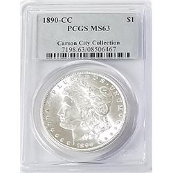 Morgan Silver Dollar 1890 CC MS 63.