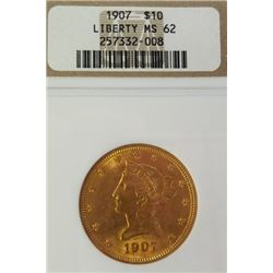 1907 10$ Liberty Head Gold Piece MS 62
