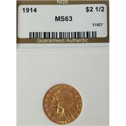 1914 2.5$ Indian Head Gold Piece MS 63