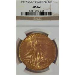 1907 Saint Gaudens $20 MS 62 NGC