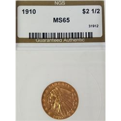 1910 2.5$ Indian Head Gold Piece MS 65
