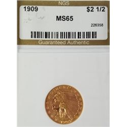 1909 2.5$ Indian Head Gold Piece MS 65