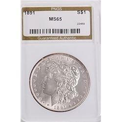 Morgan Silver Dollar 1891 MS 65.