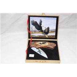 "3"" Eagles Wild Outdoors Bone Look Handle in Case"