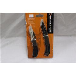 New in Pkg 2 - Folding Lockblade Knives by HUNTSHEILD