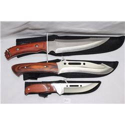 """Set of 3 Hunting Knives with Sheaths 1 - 7"""", 6"""" & 4"""" Blades .440 Steel"""