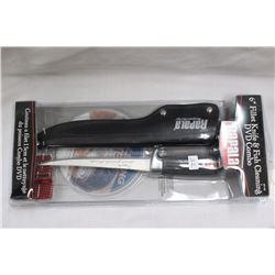 """1 - 6"""" Replica Filleting Knife & Sheath"""