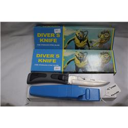 """2 - Diver's Knives Stainless Steel 4 1/2"""" Blade"""