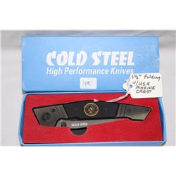 """3 1/2"""" Folding Knife Cold Steel with USA Marine Crest"""