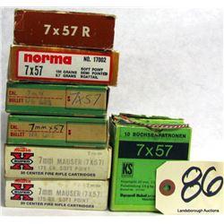 BOX LOT 7X57 AMMUNITION