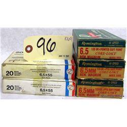 BOX LOT 6.5MM AMMUNITION AND BRASS