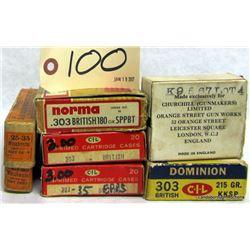 BOX LOT AMMUNITION AND BRASS