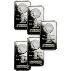 (5) Morgan Design Silver Bars - 1 oz Each
