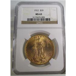 1922 $ 20 Gold Saint Gauden's MS 63 NGC