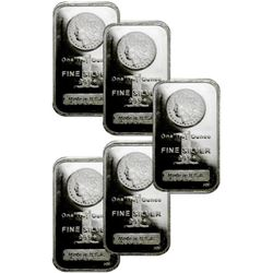 (5) 1 oz Silver Bars - Morgan Design