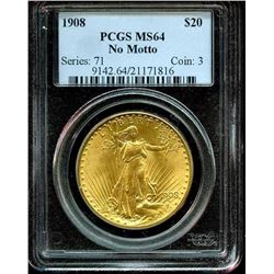 1908 MS 64 No Motto PCGS $ 20 Saint Gauden's