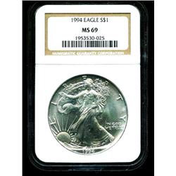1994 MS 69 Better Date US Silver Eagle NGC
