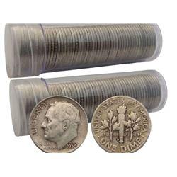 2- Rolls of 50 pcs -90% Silver Roosevelt Dimes