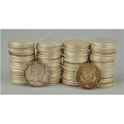 (100) Kennedy Half Dollars -90% Silver 1964
