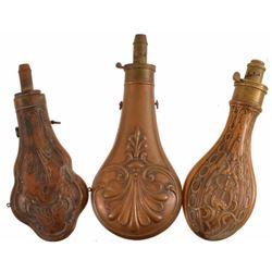 3 Antique Copper Powder Flasks