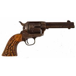 Colt SAA .45 Stag Grips in Gun Belt