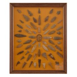 Tommy Howell's Framed Collection Of Arrowheads