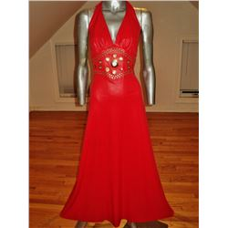 1960 Mr.Boots Liquid Leather Halter Red Maxi Studs