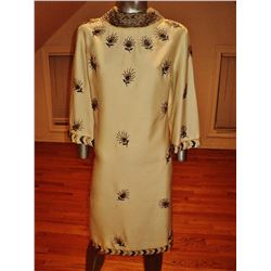Vintage 1950's trapeze raw silk A-line dress  heavily embellished gold /copper bead embroidery