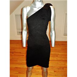 Robert Rodriguez for Intermix Body Con  one shoulder dress kitten bow