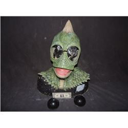 LAND OF THE LOST SCREEN USED HERO ANIMATRONIC SLEESTAK HEAD SKIN WITH EYES