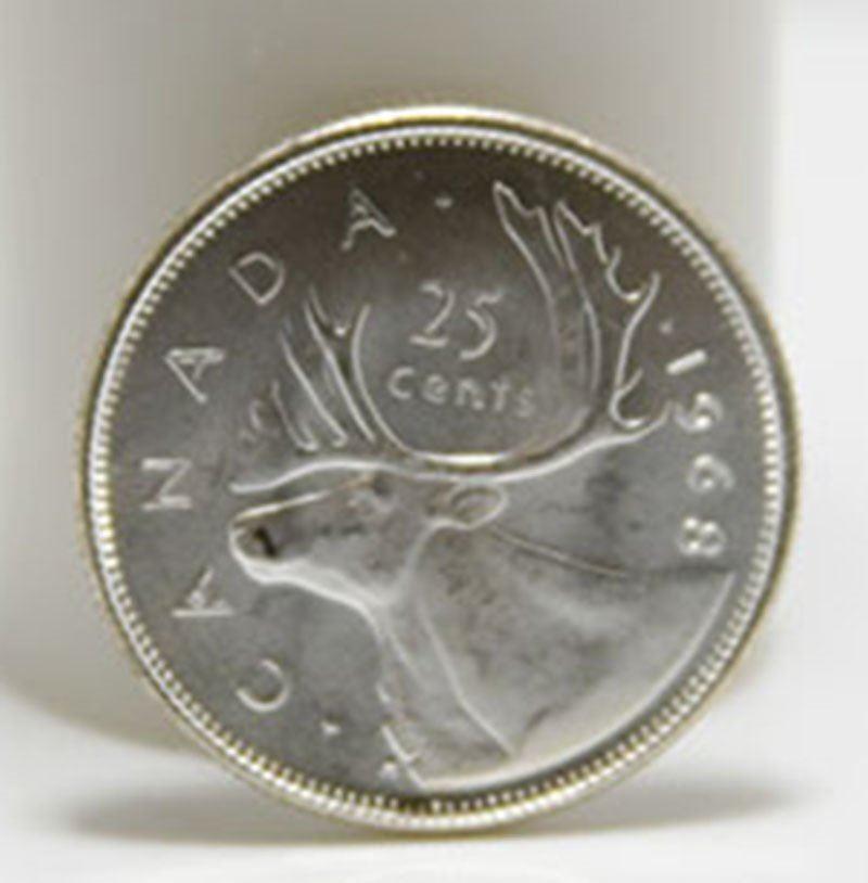 1968 Canada BU Silver 25-Cent Quarter Coin Roll